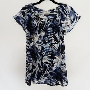 Fred David Stretch Mixed Design Blouse/Top